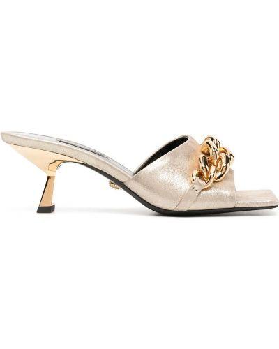 Кожаные мюли на каблуке золотые Versace