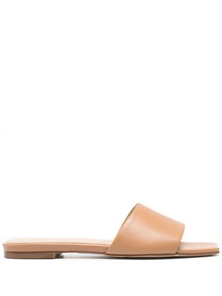 Brązowe sandały skorzane peep toe Aeyde