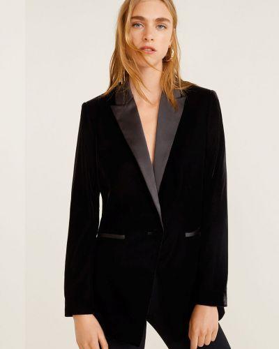 Классический пиджак бархатный черный Mango
