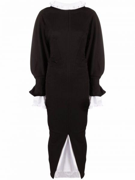 Шерстяное платье миди - черное Marni