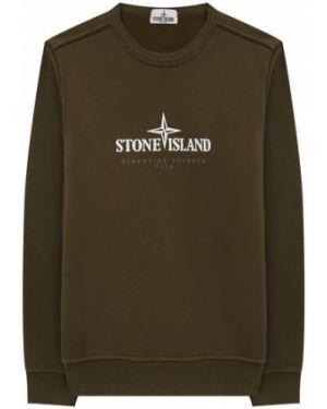 Свитшот с логотипом зеленый Stone Island