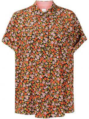 Красная шелковая блузка с короткими рукавами Paul Smith