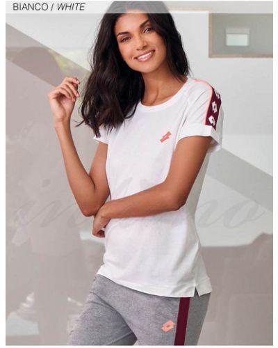 Белая хлопковая футболка Lotto