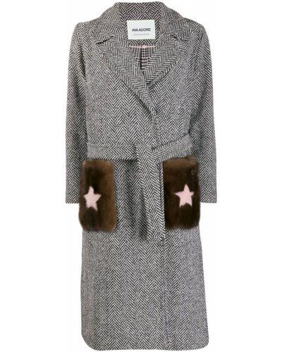 Однобортное коралловое шерстяное длинное пальто с накладными карманами Ava Adore