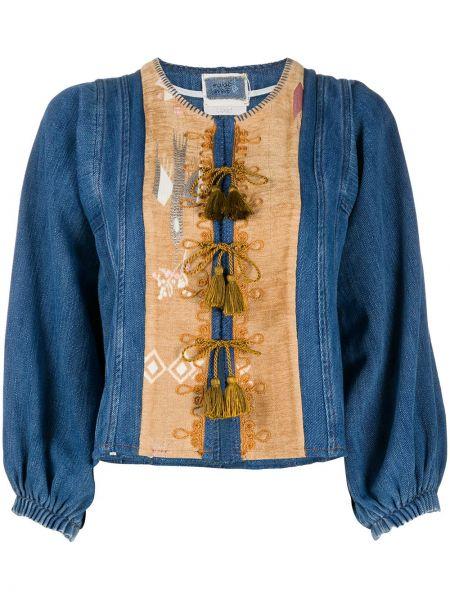 Хлопковая синяя джинсовая куртка с вышивкой Forte Forte