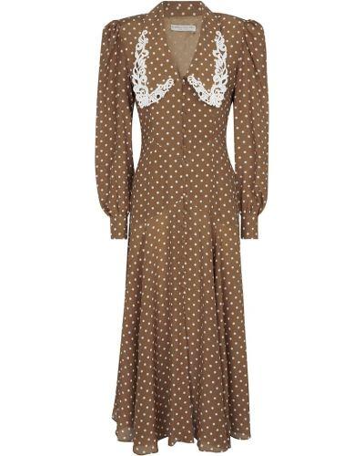 Шелковое платье - коричневое Alessandra Rich