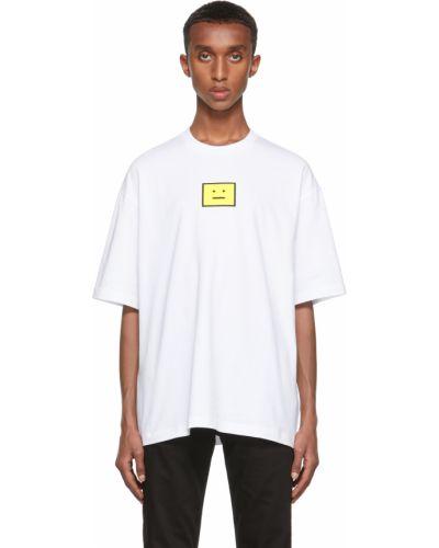 Biała koszulka z haftem Acne Studios