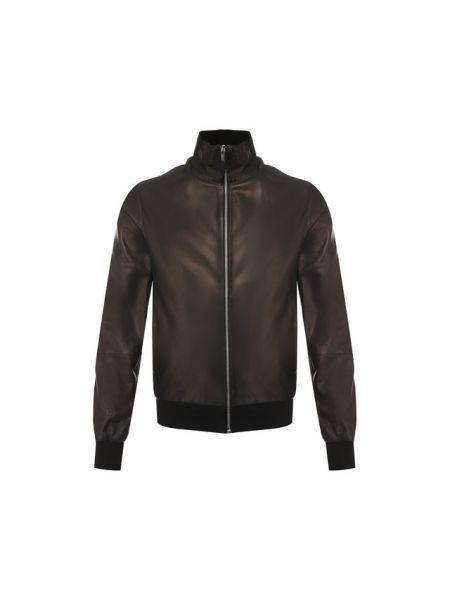 Кожаная куртка на молнии - черная Andrea Campagna