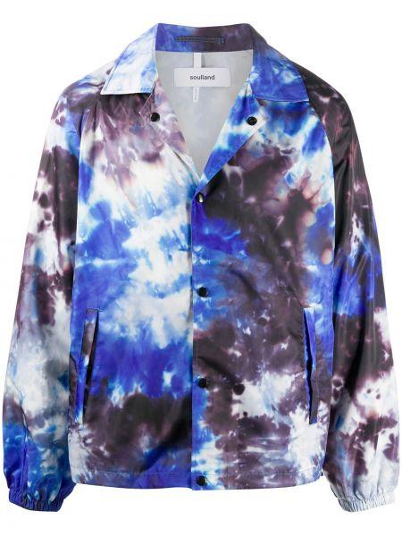 Синяя облегченная куртка с рукавом реглан с воротником Soulland