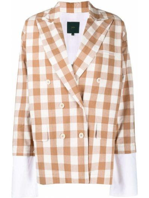 Белый удлиненный пиджак двубортный с карманами Jejia