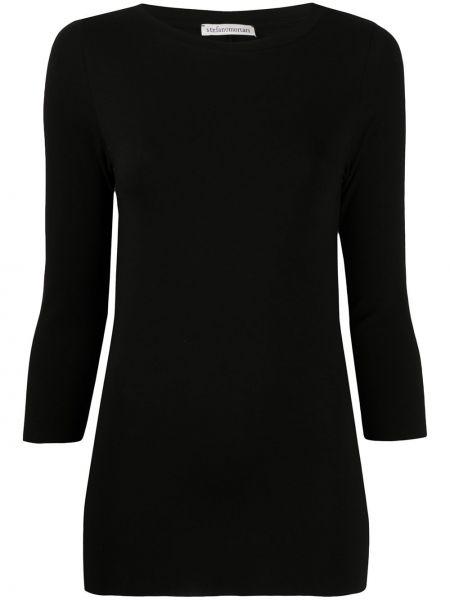 С рукавами черная футболка с вырезом Stefano Mortari