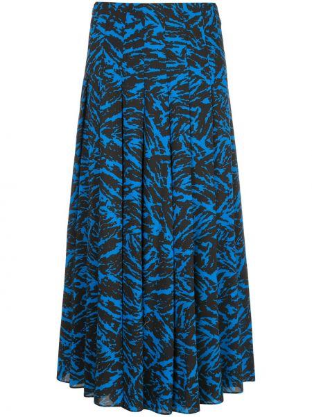 Хлопковая синяя с завышенной талией юбка миди с потайной застежкой Jason Wu
