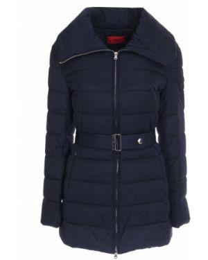 Теплая синяя стеганая куртка на молнии с воротником Hugo Boss