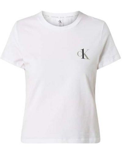 Biała piżama bawełniana krótki rękaw Ck One