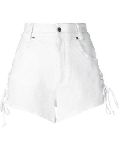 Белые джинсовые шорты с карманами со стразами Roberto Cavalli