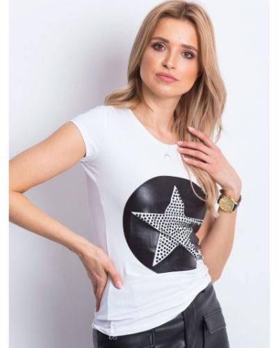 Biały t-shirt bawełniany miejski Fashionhunters