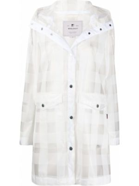 С рукавами шерстяное пальто с капюшоном айвори с карманами Woolrich