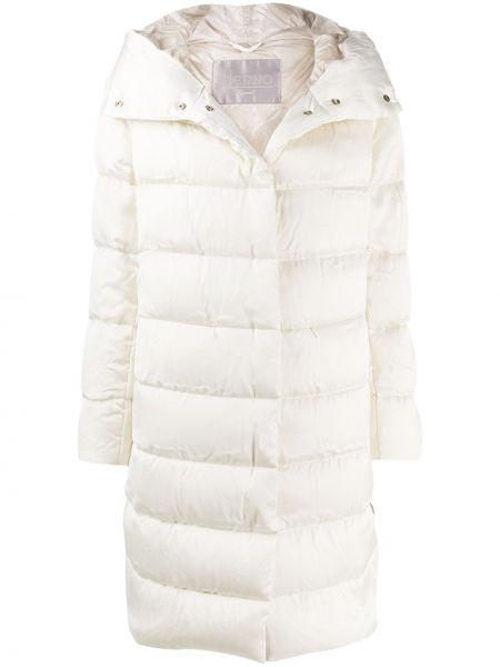 Белое шерстяное стеганое пальто на молнии с перьями Herno
