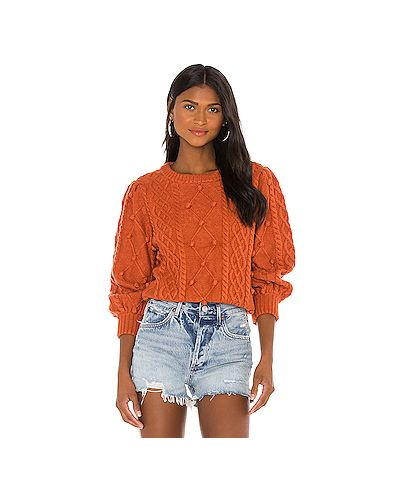 Акриловый оранжевый свитер на резинке For Love & Lemons