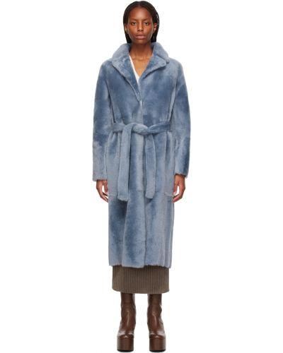 Синее пальто с воротником Yves Salomon