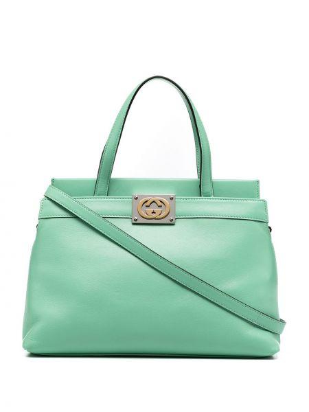 Klasyczny zielony brezentowy torba na ramię z łatami Gucci