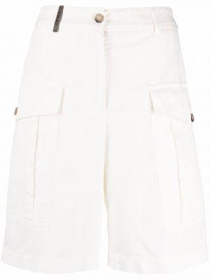 Хлопковые белые шорты карго с карманами Peserico
