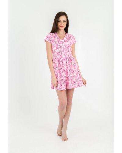 Хлопковый розовый домашний халат Lena Basco
