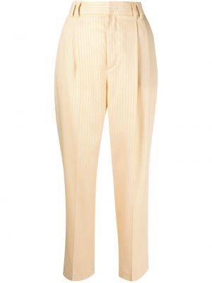 Желтые укороченные брюки на крючках Pt01