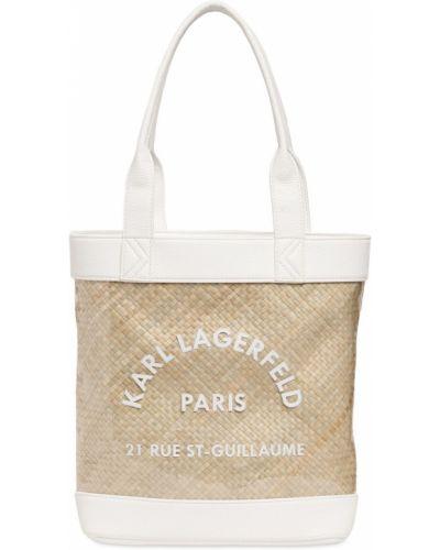 Biała torebka skórzana na plażę Karl Lagerfeld