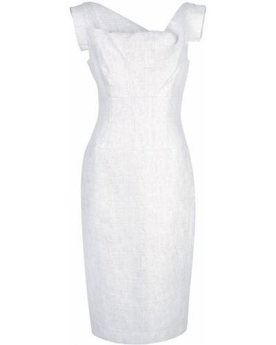 Серебряное приталенное асимметричное платье Black Halo