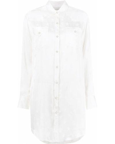 Белое платье макси с воротником из вискозы Laneus