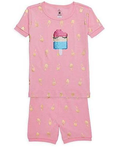 Różowa piżamy z szortami bawełniana krótki rękaw Petit Lem