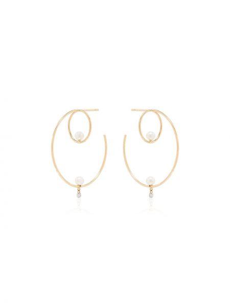 Żółte złote kolczyki sztyfty perły Persée