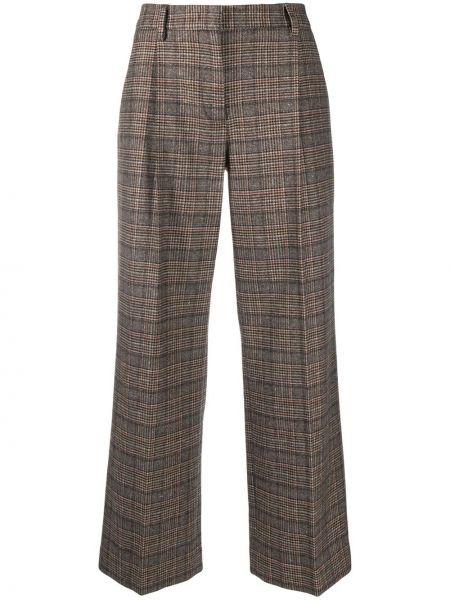 Нейлоновые коричневые укороченные брюки свободного кроя с высокой посадкой Lardini