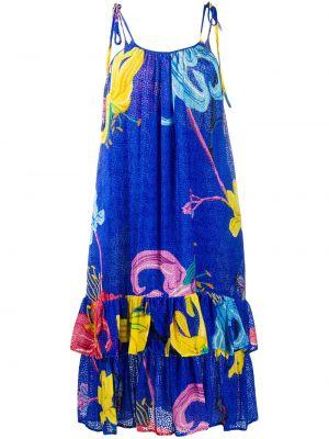 Синее шелковое платье миди на бретелях с вырезом La Doublej