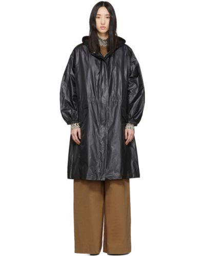 С рукавами черное длинное пальто с карманами Joseph