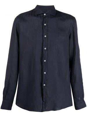 Синяя с рукавами классическая рубашка с воротником Fay