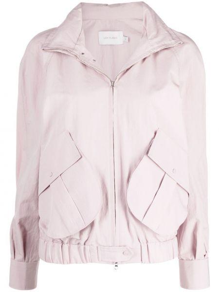 Ватная розовая длинная куртка с капюшоном Low Classic