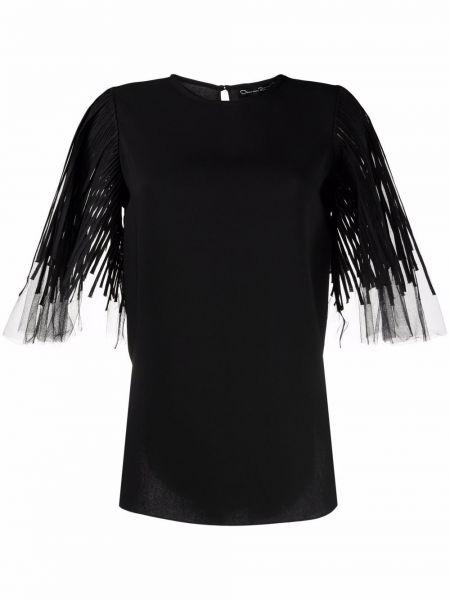 Черная шелковая блузка Oscar De La Renta