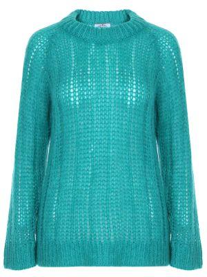 Зеленый свитер крупной вязки из мохера с круглым вырезом Prada