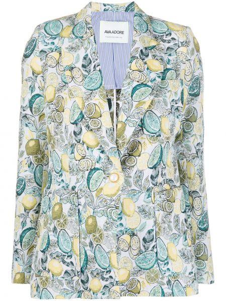 Синий классический пиджак с карманами с лацканами с длинными рукавами Ava Adore