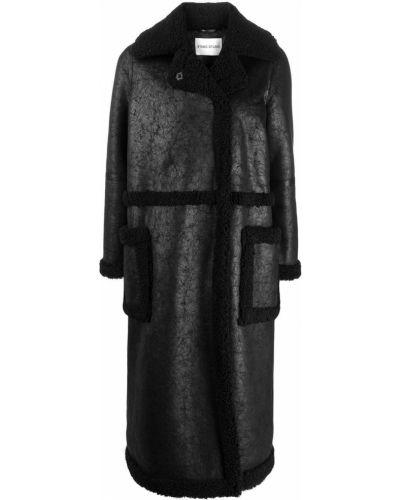 Прямое черное длинное пальто с воротником Stand