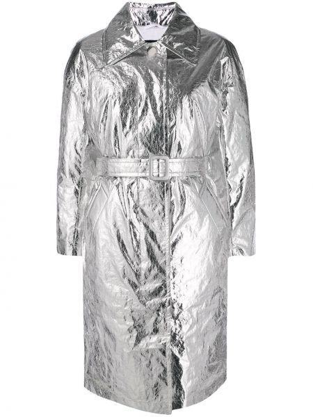 Серебряное пальто классическое с поясом с воротником металлическое Ienki Ienki