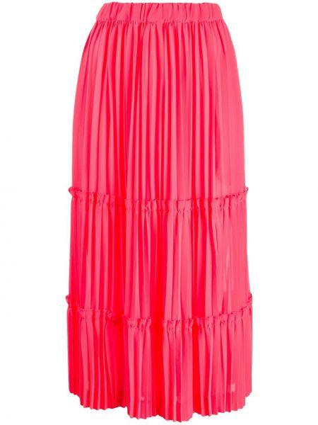 Розовая с завышенной талией юбка с оборками Comme Des Garçons