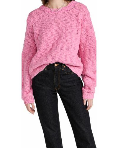 Sweter wełniany - różowy Helmut Lang