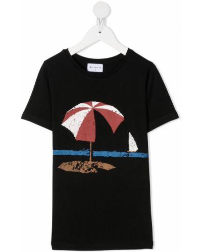 Czarny t-shirt bawełniany z printem Wolf & Rita