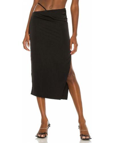 Текстильная черная юбка миди на молнии H:ours