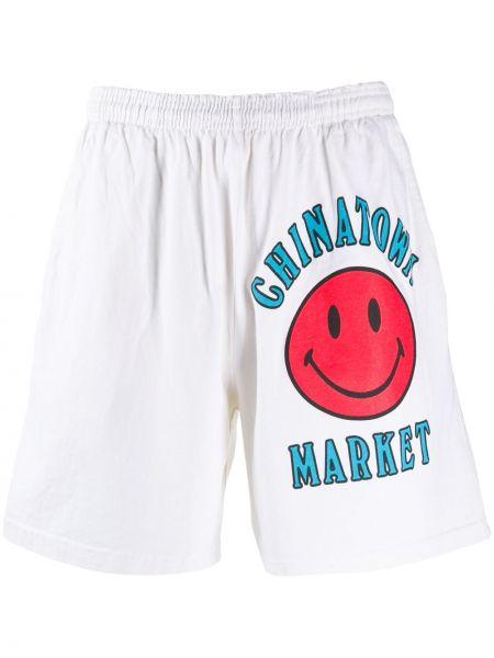 Białe szorty bawełniane z printem Chinatown Market