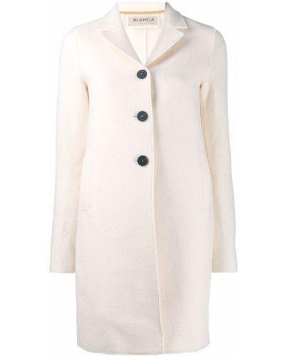 Приталенное шерстяное бежевое пальто классическое Blanca