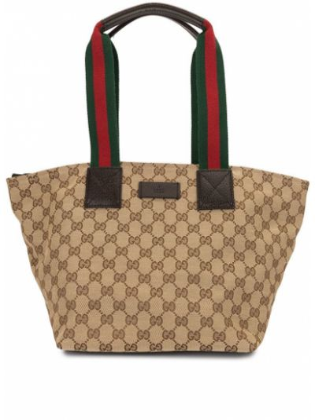 Коричневая парусиновая сумка-тоут на молнии с нашивками Gucci Pre-owned